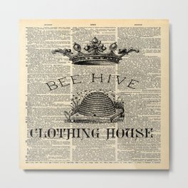 western country garden farmhouse beekeeper honey bumble bee hive Metal Print