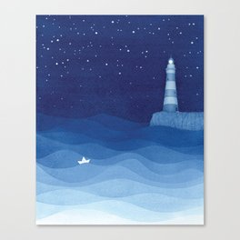 Lighthouse & the paper boat, blue ocean Canvas Print