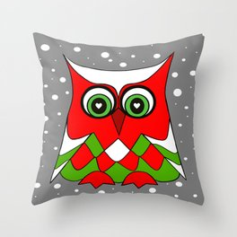 Christmas Owl Throw Pillow