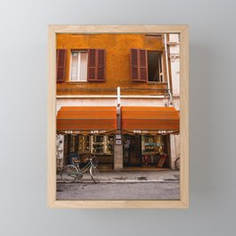 Red Shop and Bike in Ferrara | Italy Travel Photography Framed Mini Art Print