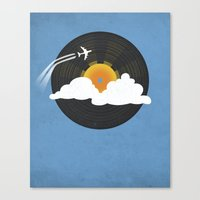 records Canvas Prints featuring Sunburst Records by Dianne Delahunty