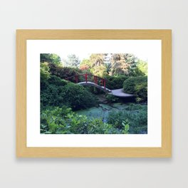 Red arched bridge at Kubota Garden Framed Art Print