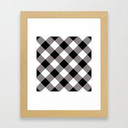 Gingham - Black Framed Art Print