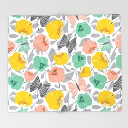 Butterfly Blossom Floral - Peach Throw Blanket
