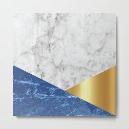 White Marble Blue Granite & Gold #188 Metal Print