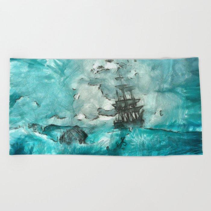 ship 2 Beach Towel