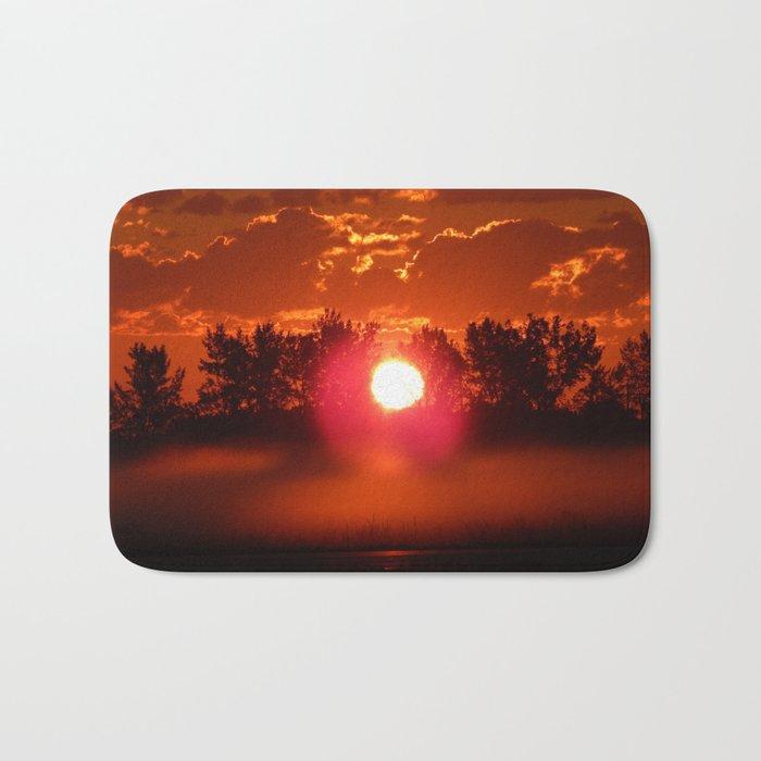 Red Foggy Sunrise Bath Mat