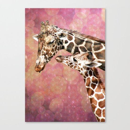 Baby and Mom Giraffe Canvas Print