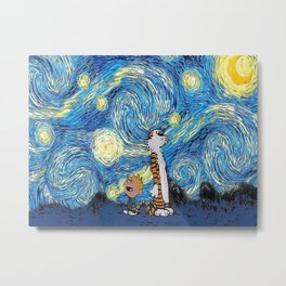 Calvin Hobbes Starry Night Metal Print