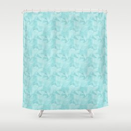 Pantone Limpet Shell Blue 13-4810 Abstract Geometrical Triangle Patterns 2 Shower Curtain