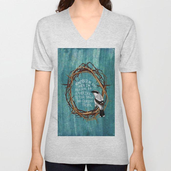 shrike with thorns Unisex V-Neck