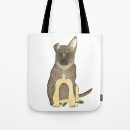 """Blue"" the German Shepherd Dog (GSD) Puppy Tote Bag"