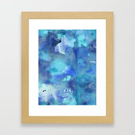 Blue Abstract Watercolor Painting Framed Art Print