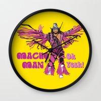 randy c Wall Clocks featuring Macho Man Randy Savage by Milos Cakovan