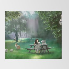 A girl and Angel Rabbits enjoying in early summer Throw Blanket