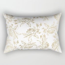 Vintage white faux gold roses floral Rectangular Pillow