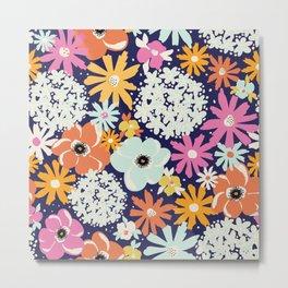 Abstract Florals Hydrangena Poppy Pattern Metal Print