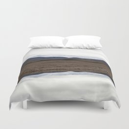 Reflections of the Rolling Hills and Snow-Covered Mountains on the Road to Edoras Duvet Cover
