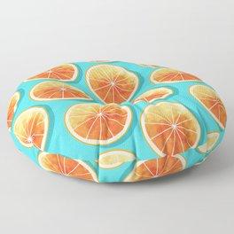 Orange Slices on Blue Floor Pillow