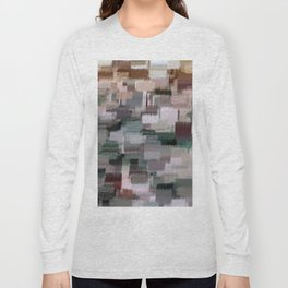 abstract colorful pastel drawing green brown tones Long Sleeve T-shirt