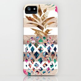 Luxury Pineapple floral gold iPhone Case