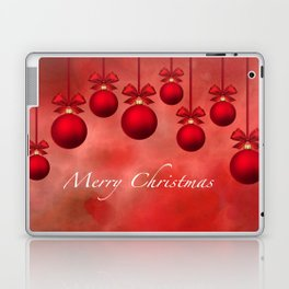 Merry Christmas Ornaments Bows and Ribbons - Red Laptop & iPad Skin