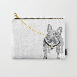 Typographic French Bulldog - Black and White Carry-All Pouch