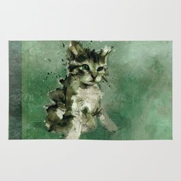 Cute green cat Watercolor Painting Illustration Rug