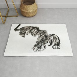 tiger watercolor japan style chinese ink Rug