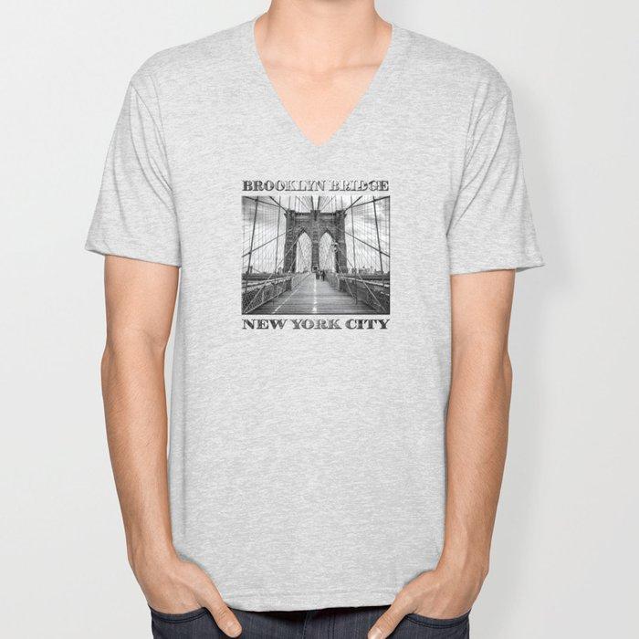 Brooklyn Bridge, New York City (rustic black & white) Unisex V-Neck