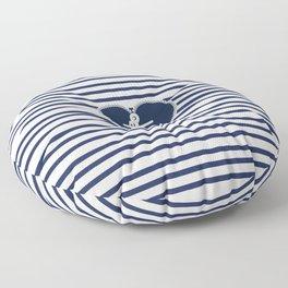 Modern navy blue white heart anchor nautical stripes Floor Pillow