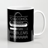 alcohol Mugs featuring To alcohol! by Sama