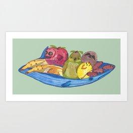 Fruit Bowl Animals Art Print
