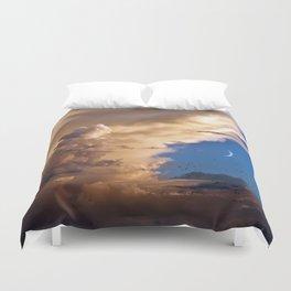 Clouds, Birds, Moon, Venus Duvet Cover
