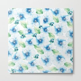Hand painted blue white green watercolor floral pattern Metal Print