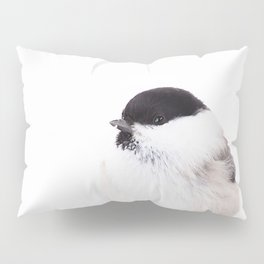 Cute Willow Tit sitting in the snow #decor #buyart #society6 Pillow Sham
