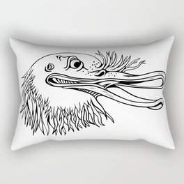 Angry Kiwi Bird Head Cartoon Black and White Rectangular Pillow
