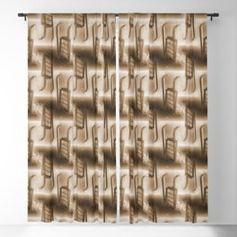 Battery Mishler ladder going nowhere, sepia maze of Ladders pattern Blackout Curtain