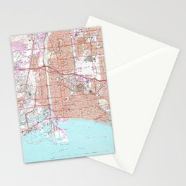 Vintage Map of Long Beach California (1964) Stationery Cards