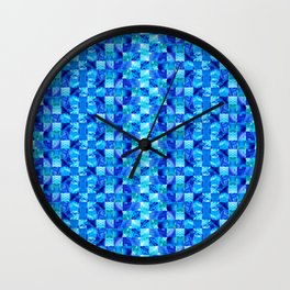 Blue Color Blocks By Sharon Cummings Wall Clock