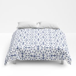 Navy Blue Anchors and Stars Nautical Pattern Comforters