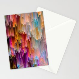 Light meets Dark Colorful Glitch Art Stationery Cards