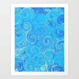 Blue Swirls Art Print