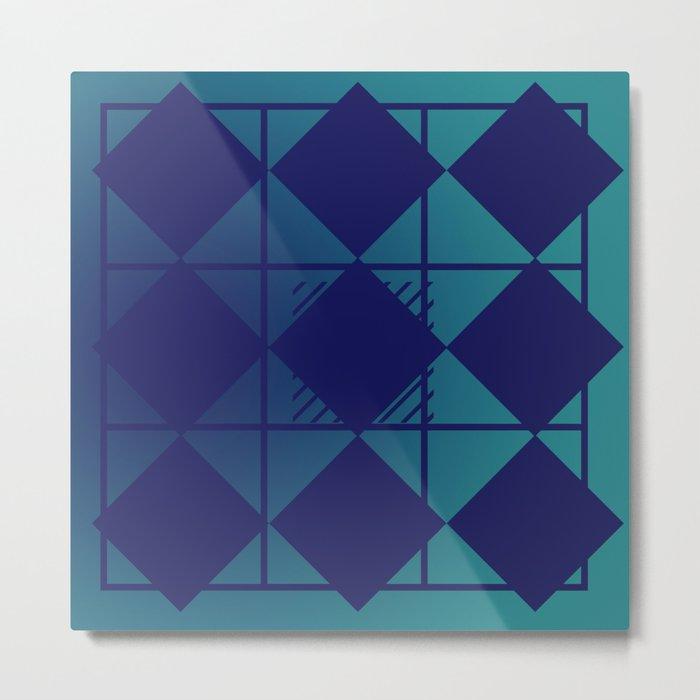 Blue,Diamond Shapes,Square Metal Print