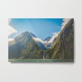 Majestic Stirling Falls, Milford Sound, Fiordland, South Island, New Zealand Metal Print