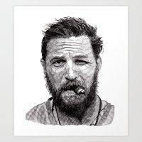 tom selleck Art Prints featuring Tom by Rik Reimert