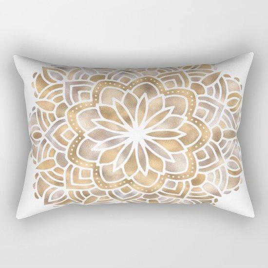 Mandala Multi Metallic in Gold Silver Bronze Copper Rectangular Pillow