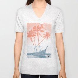 Shipwreck Palm trees Poster Unisex V-Neck