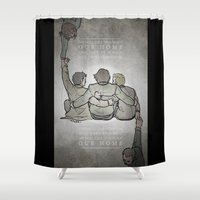 sam winchester Shower Curtains featuring [ Supernatural ] Castiel Dean Sam Winchester Crowley Hannah by Vyles
