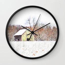 Illinois Snow on the Barn Wall Clock